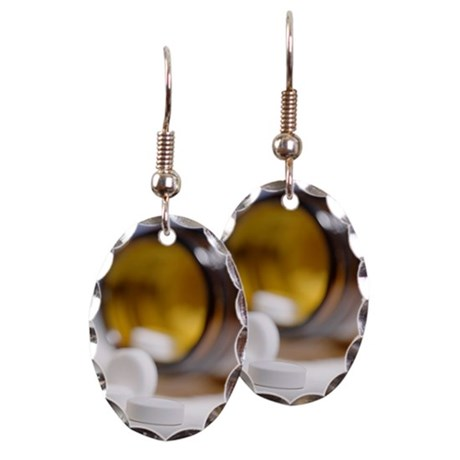Pills spilling out of bottle, f Earring Oval Charm