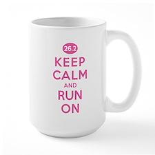 Keep Calm and Run On 26.2 Pink Mugs