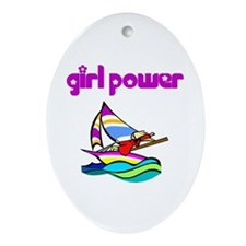 Girl Power Sailing Ceramic Ornament