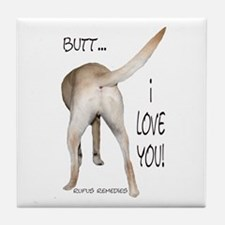 Yellow Lab I Love You Tile Coaster