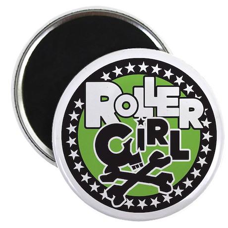 Rollergirl Skull Circle Green Magnet