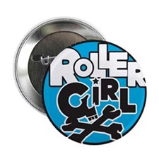 Rollergirl Skull Circle Blue Button