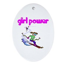 Girl Power Skiing Ceramic Ornament