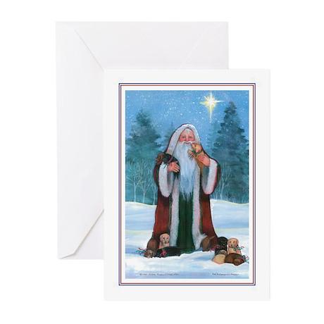 Santa with Labs Holiday Greeting Cards (Pk of 10)