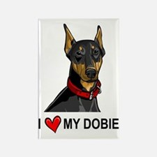 I Heart My Dobie Rectangle Magnet