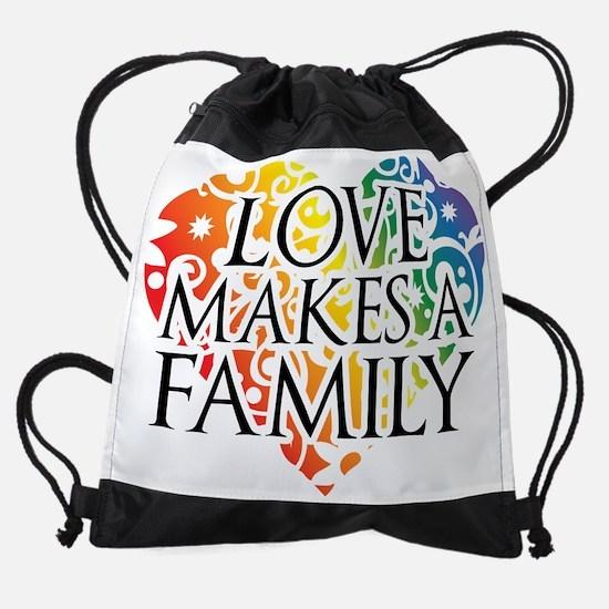 Love Makes A Family LGBT Drawstring Bag