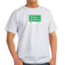 Idaho Arizona Roadsign Ash Grey T-Shirt