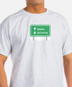 Idaho Arizona Roadsign Ash Grey T-Shirt