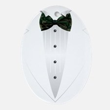 Tuxedo (woodland camo) Ornament (Oval)