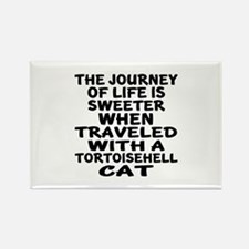 Traveled With tortoisehell Cat Rectangle Magnet