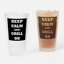 Keep Calm And Grill On (Black) Drinking Glass