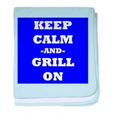 Keep Calm And Grill On (Blue) baby blanket