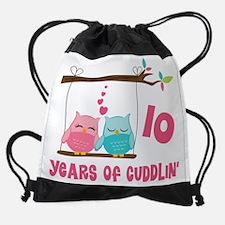 10th Anniversary Owl Couple Drawstring Bag