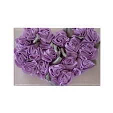 Lilac Ribbon Roses Heart Rectangle Magnet