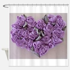 Lilac Ribbon Roses Heart Shower Curtain