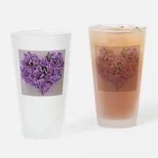 Lilac Ribbon Roses Heart Drinking Glass