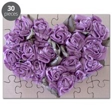 Lilac Ribbon Roses Heart Puzzle