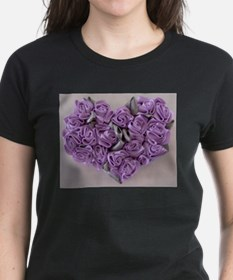 Lilac Ribbon Roses Heart T-Shirt