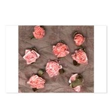 Pink Ribbon Roses Leaves Postcards (Package of 8)