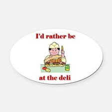 at the deli.png Oval Car Magnet