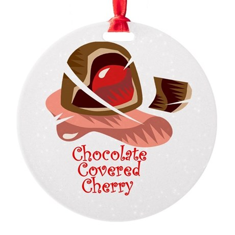 chocolate covered cherry.png Round Ornament