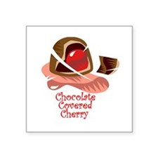 "chocolate covered cherry.png Square Sticker 3"" x 3"