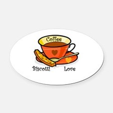 coffee biscotti love triangle.png Oval Car Magnet