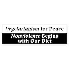 Vegetarianism for Peace Bumper Car Sticker