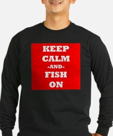 Keep Calm And Fish On (Red) Long Sleeve T-Shirt