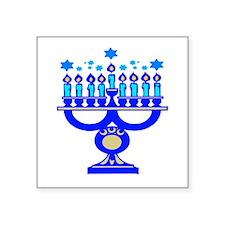 "blue menorah.png Square Sticker 3"" x 3"""