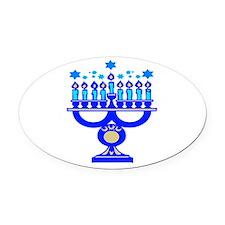 blue menorah.png Oval Car Magnet