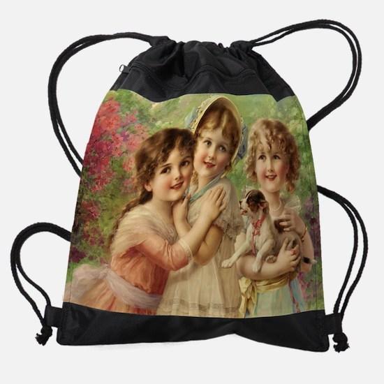 Vintage Victoria oil painting. Best Drawstring Bag