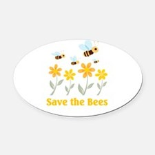 save the bees.png Oval Car Magnet