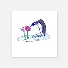 "flower penguin.png Square Sticker 3"" x 3"""