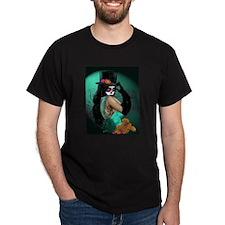 Top Hat Dia de los Muertos Pin-up T-Shirt