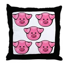 Cute Pink Pigs Throw Pillow