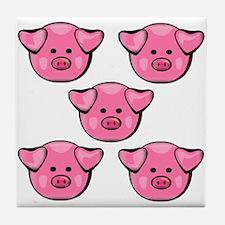 Cute Pink Pigs Tile Coaster