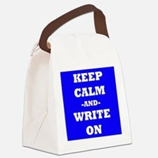Keep Calm And Write On (Blue) Canvas Lunch Bag