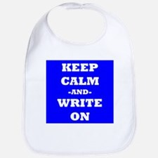 Keep Calm And Write On (Blue) Bib