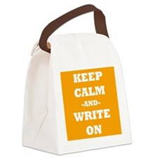 Keep Calm And Write On (Orange) Canvas Lunch Bag