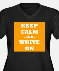 Keep Calm And Write On (Orange) Plus Size T-Shirt