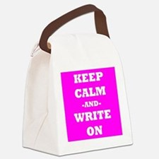Keep Calm And Write On (Pink) Canvas Lunch Bag