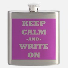 Keep Calm And Write On (Pink) Flask