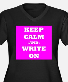 Keep Calm And Write On (Pink) Plus Size T-Shirt