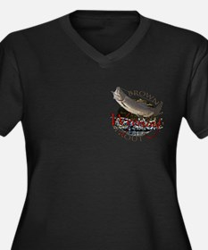 Wyoming Brown Trout Women's Plus Size V-Neck Dark
