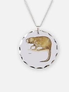 Muskrat Animal Necklace Circle Charm