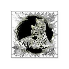 TWO WHITE TIGERS PORTRAIT Sticker