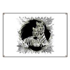 TWO WHITE TIGERS PORTRAIT Banner