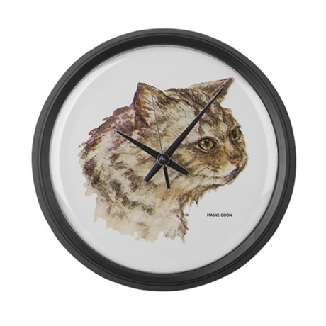 Maine Coon Cat Large Wall Clock