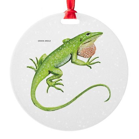Green Anole Lizard Round Ornament